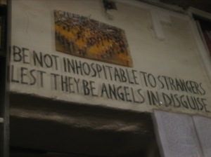This is so blurry, but I would rather you see it than not. This is above the exit to the shop, and is their guiding light.
