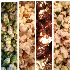 From left to right: tea kettle corn, parmesan rosemary truffle popcorn, preparedness popcorn, and duck fat popcorn.