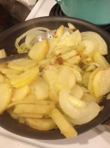 See how my onion is a little transparent and the edges of the potatoes are slightly brown? No?