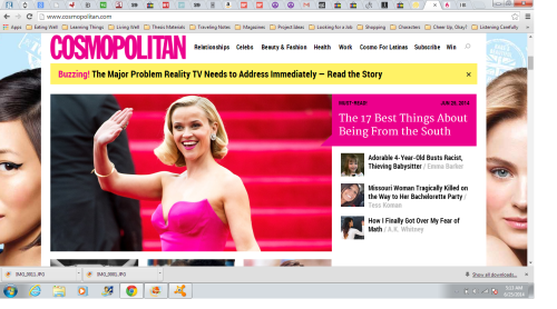 Uh, yeah, I took a screenshot of the brief moment I was on the front page of Cosmopolitan. I'm very cool.